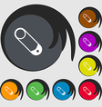 Pushpin icon sign Symbols on eight colored buttons vector image