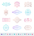 set colored hipster line emblems and signs vector image vector image