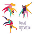 set contact improvisation theatrical exercise vector image vector image