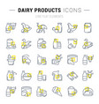set line icons dairy products vector image