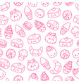 set of cartoon doodle icons dessert cake vector image