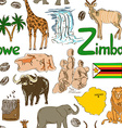 sketch zimbabwe seamless pattern vector image