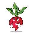 thinking radish character cartoon collection vector image vector image