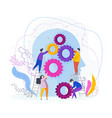 tiny people collect gear in the human head vector image vector image