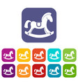 toy horse icons set flat vector image vector image