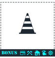 traffic cone icon flat vector image vector image