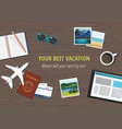 travel gear on wooden background travel concept vector image