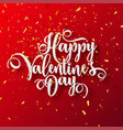 valentines day love lettering with golden confetti vector image vector image
