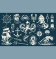 vintage maritime and nautical elements collection vector image