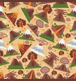 volcano seamless pattern eruption volcanism vector image