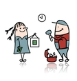 Woman and repairman sketch for your design vector image vector image