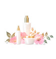 women care cosmetic in beautiful bottles isolated vector image