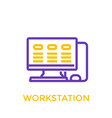workstation icon linear style vector image vector image