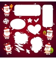 Set of Cartoon Santa Clauses with a Speech Bubbles vector image