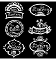 Set of vintage hand drawing chalk style bakery vector image