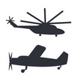 helicopter and plane black silhouettes on white vector image