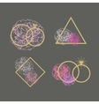 Wedding agency logo set Engagement rings vector image