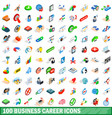 100 business career icons set isometric 3d style vector image vector image