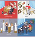 artists isometric design concept vector image vector image