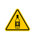 attention alcohol bottle of whiskey on yellow vector image vector image