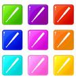 black baseball bat icons 9 set vector image vector image