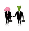 brain and money business businessmen shaking vector image vector image