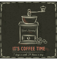 Brown blackboard with coffee mill and text vector image