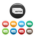butter icons set color vector image vector image