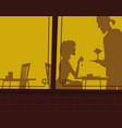 cafe windows silhouettes vector image