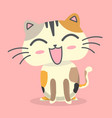 cartoon cat smile emotion pink background i vector image vector image