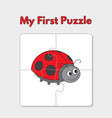 cartoon ladybug puzzle template for children vector image vector image
