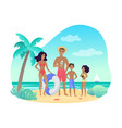 cheerful parents and kids in swimwear standing vector image vector image