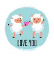 cute cartoon sheeps in love vector image vector image