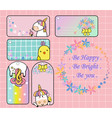 cute unicorn and yellow bird gift tag set will mak vector image vector image