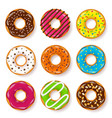 donut begel with cream cookiescookie cake set vector image