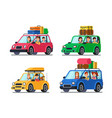 family traveling cars happy people travel in car vector image