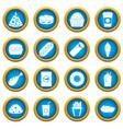 fast food icons blue circle set vector image vector image