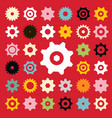 flat cogs set on red background vector image vector image