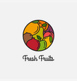 fresh fruits linear logo on white background vector image vector image
