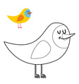 Funny bird coloring book comical fowl in linear vector image vector image