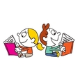 girl and boy reading books vector image vector image