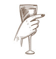 glass of exquisite wine in tender female hand vector image