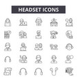 headset line icons signs set outline vector image vector image