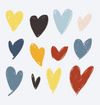 heart icon set hand drawn object on white vector image
