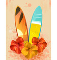 hibiscus flowers and surfboards vector image