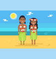 jamaican couple in national costumes on beach vector image
