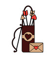 love bag bow arrow and message letter romance vector image vector image