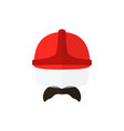 men with mustache wearing casque firefighter icon vector image vector image