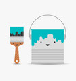 paint brush and tin funny characters vector image