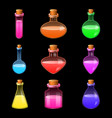 potion magic bottle icons set realistic style vector image vector image